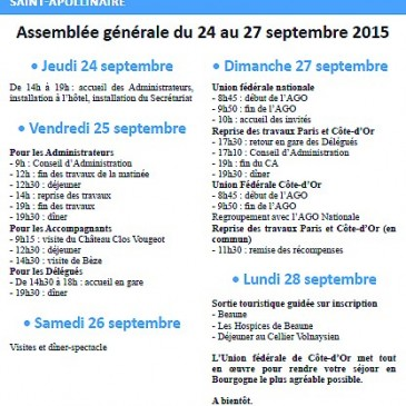 27 septembre 2015 – Assemblée Générale de l'Union Fédérale des ACVG de Côte d'Or
