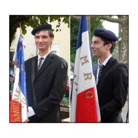 Deux jeunes porte-drapeaux,  Antoine DUMONT et David RATTAIRE…