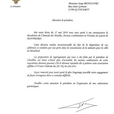 14 mai 2019 – Dissolution de l'Amicale des Mutilés, des Anciens Combattants et Victimes de Guerre du canton de Montbard.